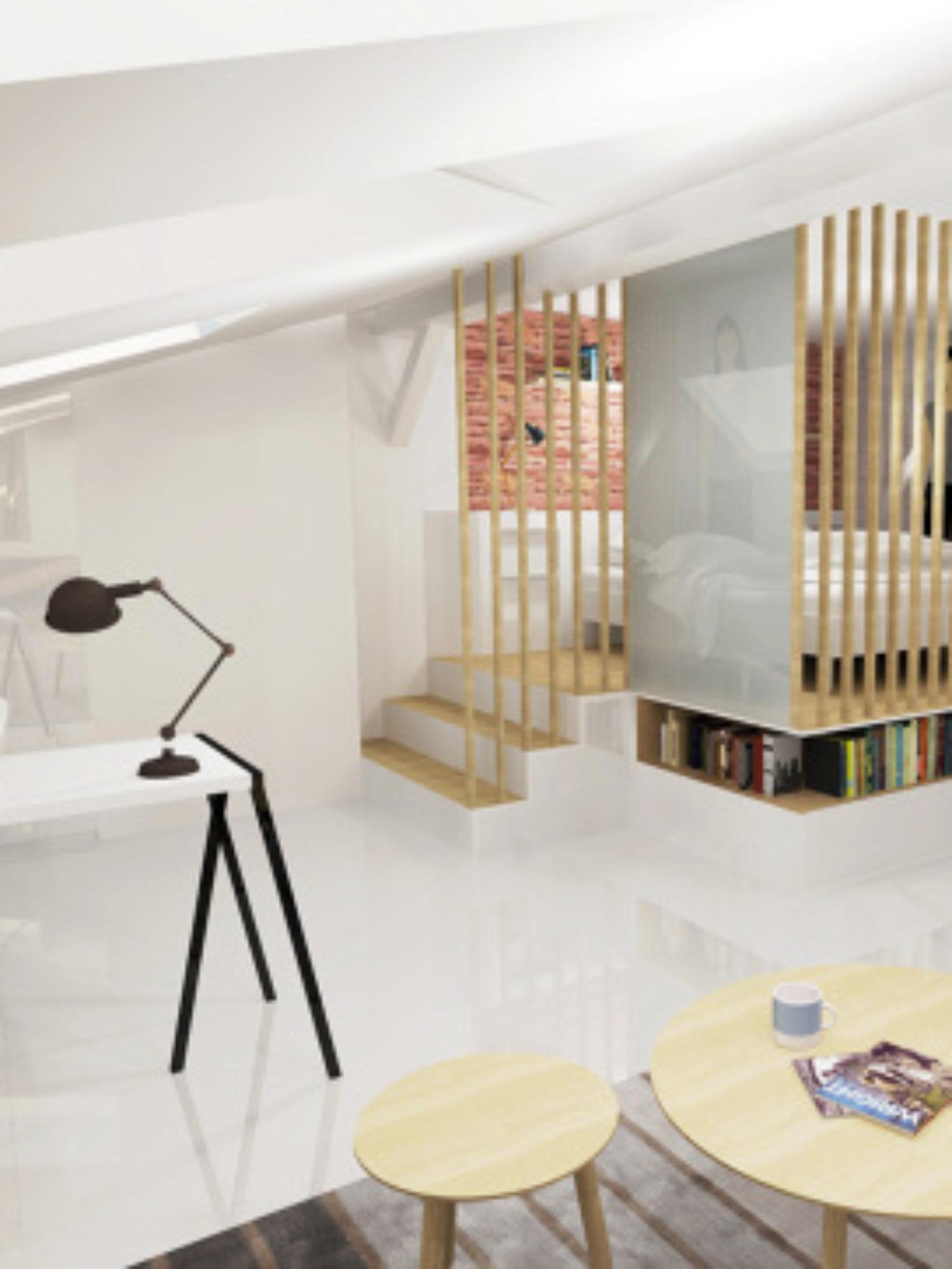 ARCHITECTURE D'INTÉRIEUR • Aménagement d'un appartement sous les toits vue sur le capitole de toulouse