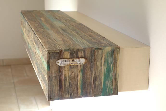console d'entrée avec tiroir dessiné et fabriqué par le studio de design toulousain Superstrate