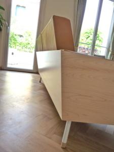 canapé en cuir et bois-cosy camel- superstrate-toulouse