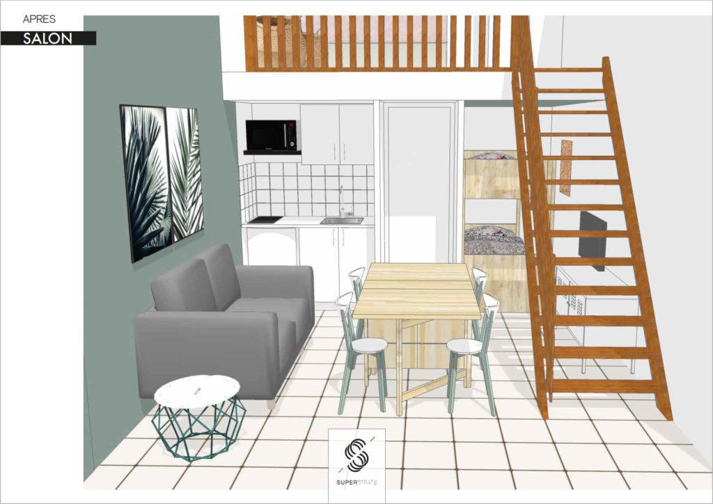 architecture d'intérieure revalorisation et optimisation des m² pour optimisier le rendement de ce bien en vue d'une location saisonnière, prestation design d'espace et architecture intérieur par le studio superstrate, Toulouse