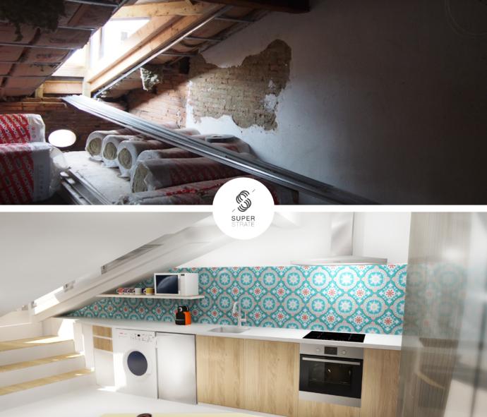 """architecture d'intérieur """"pure white"""" conçu par le studio de design toulousain Superstrate . Un appartement sous les toit de la rue Rémusat à deux pas du Capitole."""