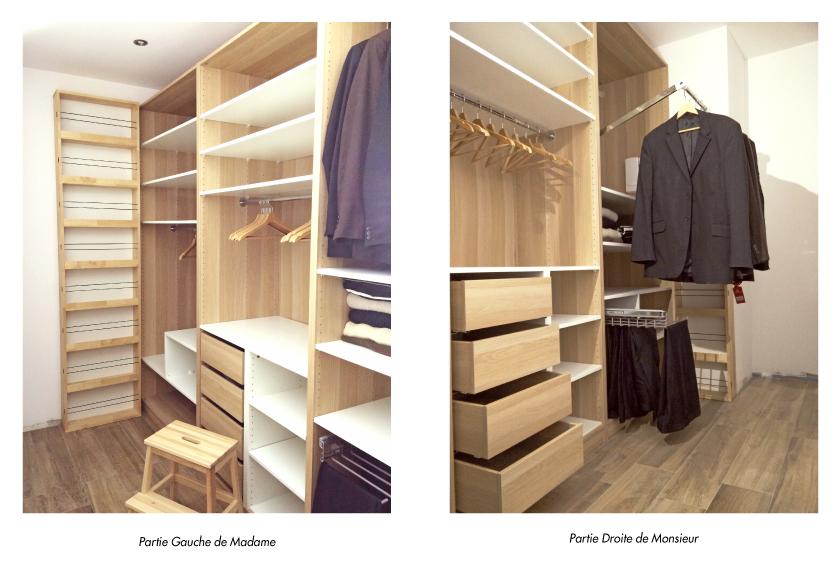 Agencement d'espace sur-mesure, création d'un dressing en mélaminé décor chêne et blanc mat, rangement déssiné et fabriqué par le studio de design et fabrication Superstrate, Toulouse