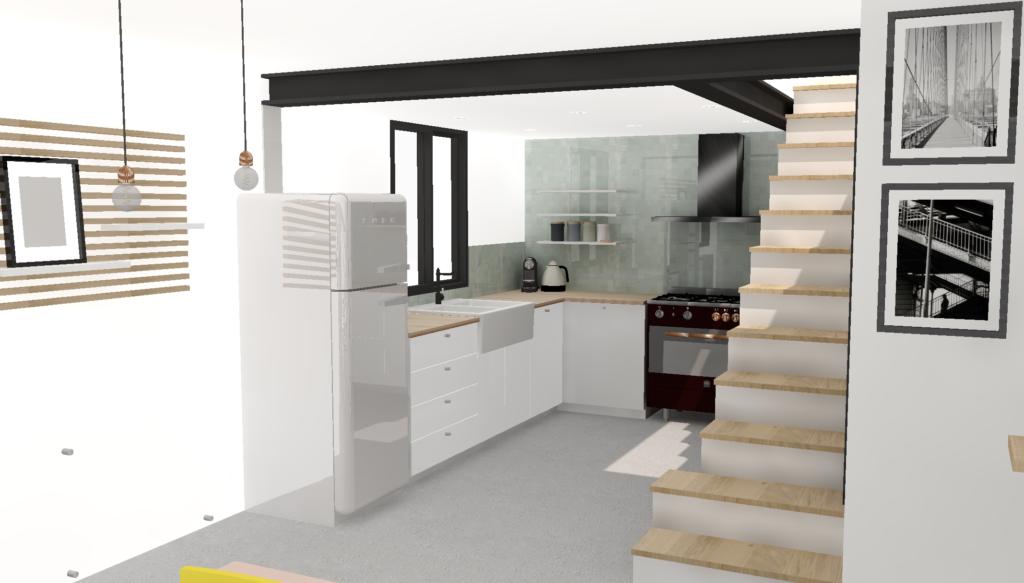 visuel 3D du nouvel espace redessiné par le studio superstrate. Entrée séparée de la cuisine par une verrière acier noir et bois de chêne sur-mesure, prestation Conseil en décoration et architecture intérieur à Toulouse