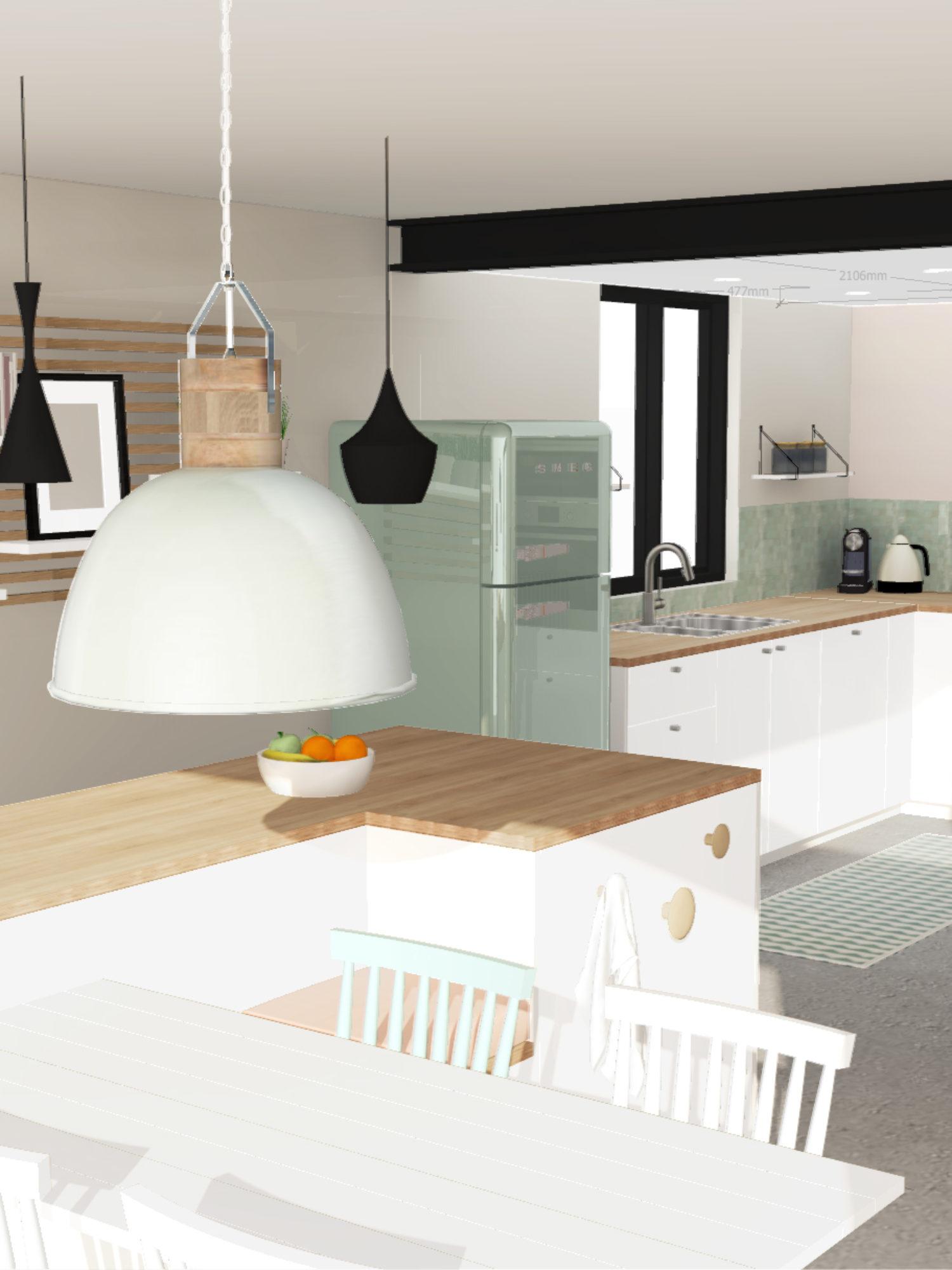 ARCHITECTURE D'INTÉRIEUR • Création d'une cuisine sur-mesure dans une maison individuelle rénovée et agrandie à toulouse