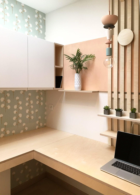 BUREAU • Transformation d'une buanderie en espace bureau fonctionnel et sur-mesure