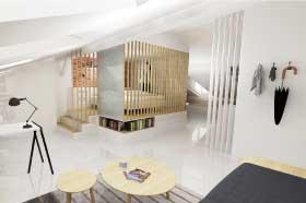 architecture intérieur, vues 3D pour la rénovation d'un appartement et décoration par le studio de design et fabrication superstrate à Toulouse