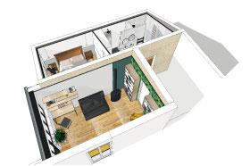 image 3D agrandissement d'une maison en vue de dessus, prestation architecture d'intérieur et décoration studio superstrate Toulouse