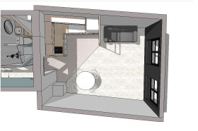 image 3D vue de dessus d'un appartement parisien, valorisation de l'espace et optimisation des m² augmentation du rendement locatif, prestation architecture d'intérieur et décoration studio superstrate Toulouse