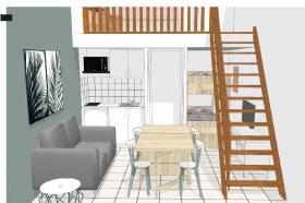image 3D d'un intérieur pour rénovation d'un appartement en bord de mer, valorisation de l'espace et optimisation des m² augmentation du rendement locatif, prestation architecture d'intérieur et décoration studio superstrate Toulouse