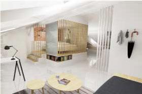 vue 3D photoréaliste de l'intérieur d'un appartement, capitole toulouse, aménagement sur mesure d'un espace sous toit, création d'un appartement dans des combles, prestation architecture d'intérieur et décoration studio superstrate Toulouse