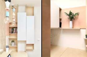 Mobilier sur mesure, bureau sur mesure et rangement en contreplaqué de bois de bouleau et stratifié blanc mat réalisé par le studio de design et fabrication superstrate à Toulouse