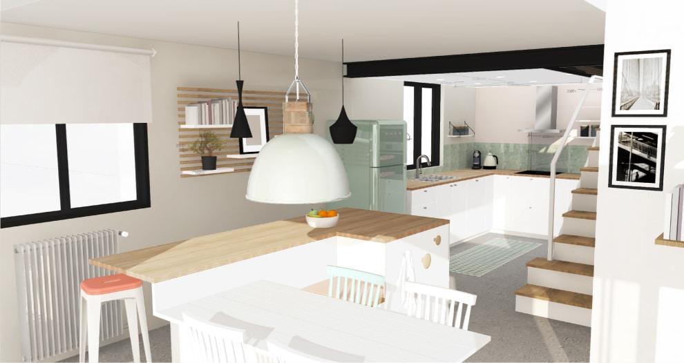 Image 3D architecture intérieur et décoration pour l'agrandissement d'une maison à coté de Toulouse, Design par le studio superstrate Toulouse