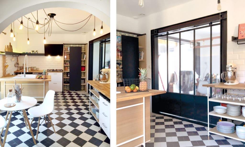 cuisine originale pour un intérieur atypique avec verriere en acier noir. une cuisine sur mesure en bois de chêne et métal blanc épuré .design fabrication et pose par le studio d'architecture intérieur et ébénisterie Superstrate, toulouse