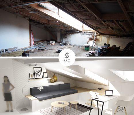 avant après d'un projet de rénovation d'un appartement sous les toit, réhabilitation de combles, architecture intérieur, design d'espace et décoration Prestation réalisé par studio superstrate toulouse