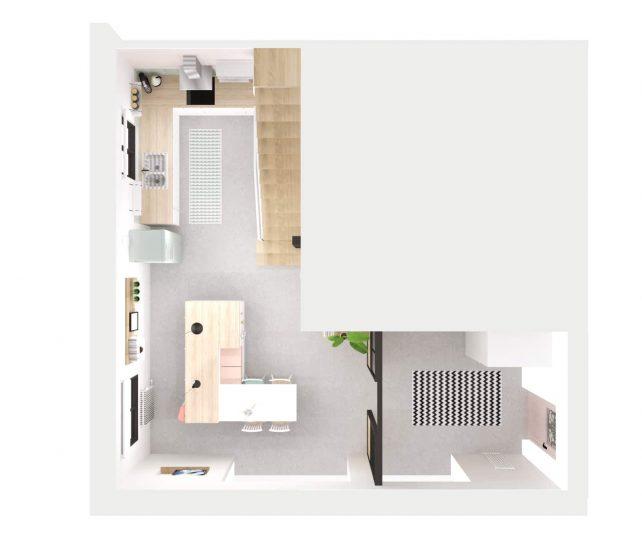 vue 3D dessus, conseil décoration et architecture intérieur, design d'espace pour rénovation d'une maison à coté de Toulouse